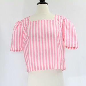 Bershka Crop Top Medium Shirt Puff Sleeves NEW
